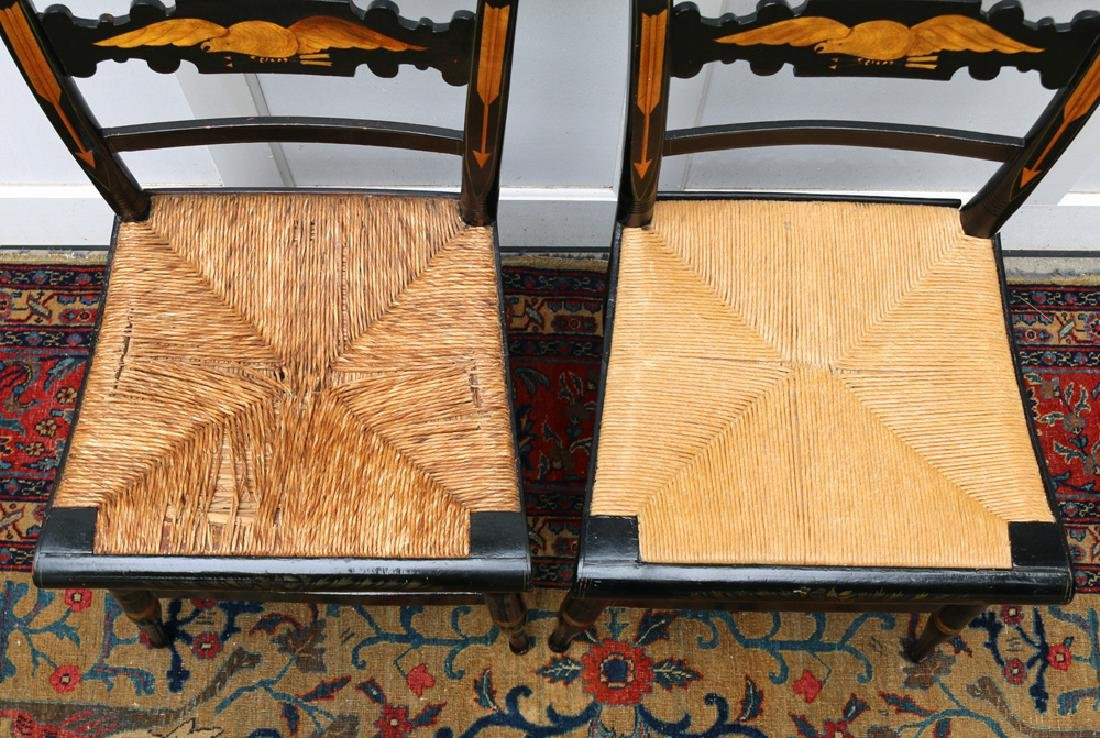 PAIR PAINT-DECORATED STENCILED CHAIRS - 5