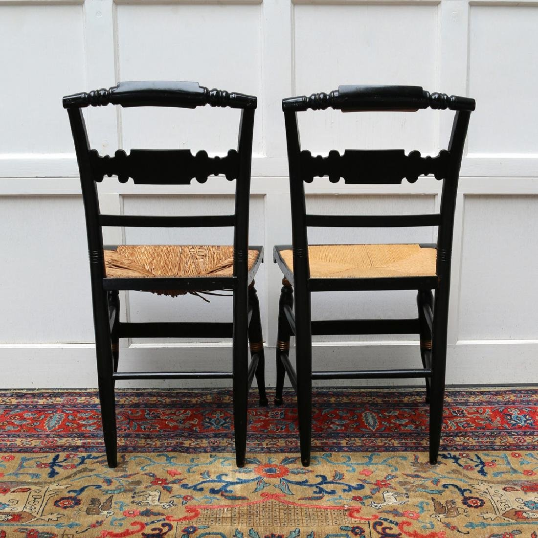 PAIR PAINT-DECORATED STENCILED CHAIRS - 7