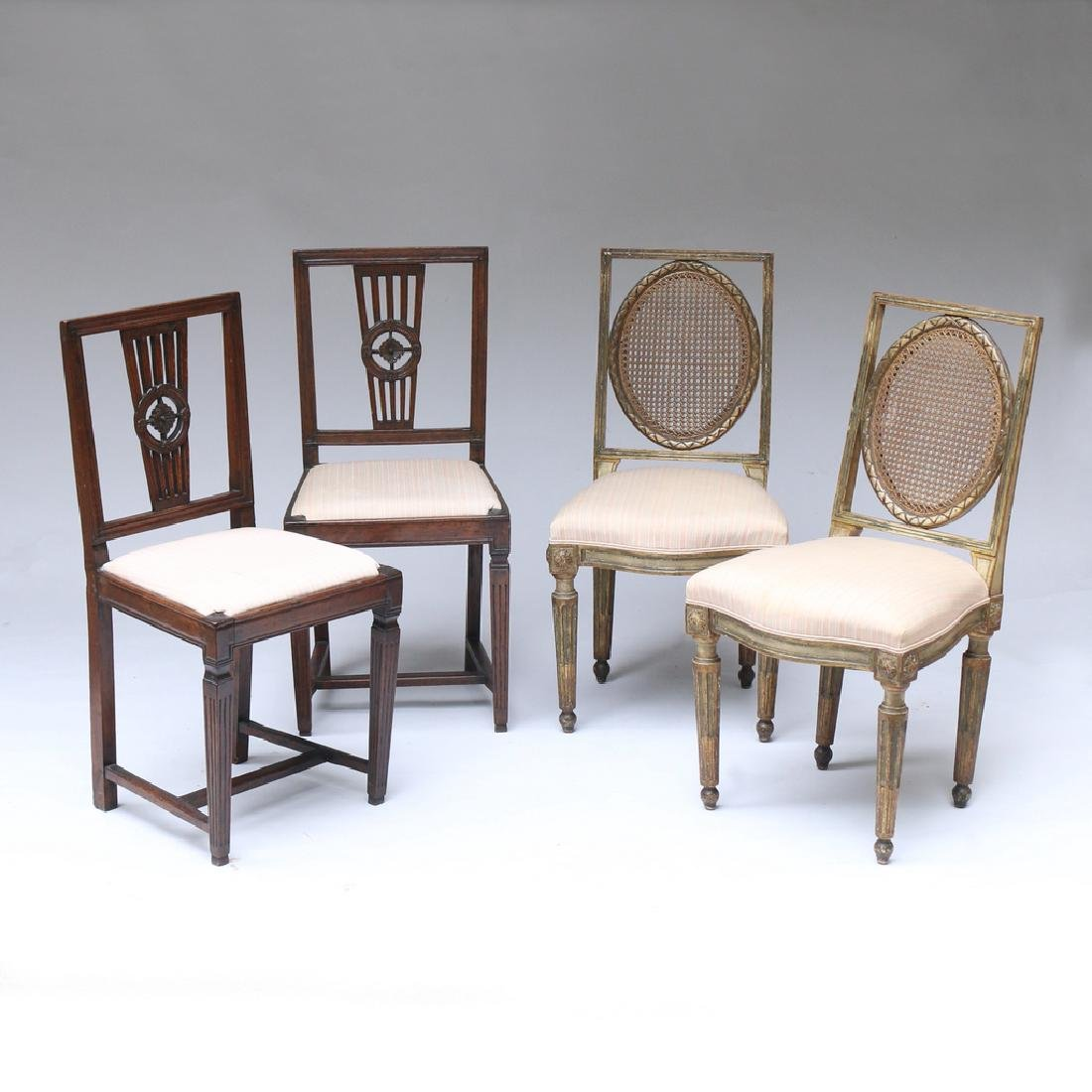 (4pc) TWO PAIRS OF ANTIQUE SIDECHAIRS