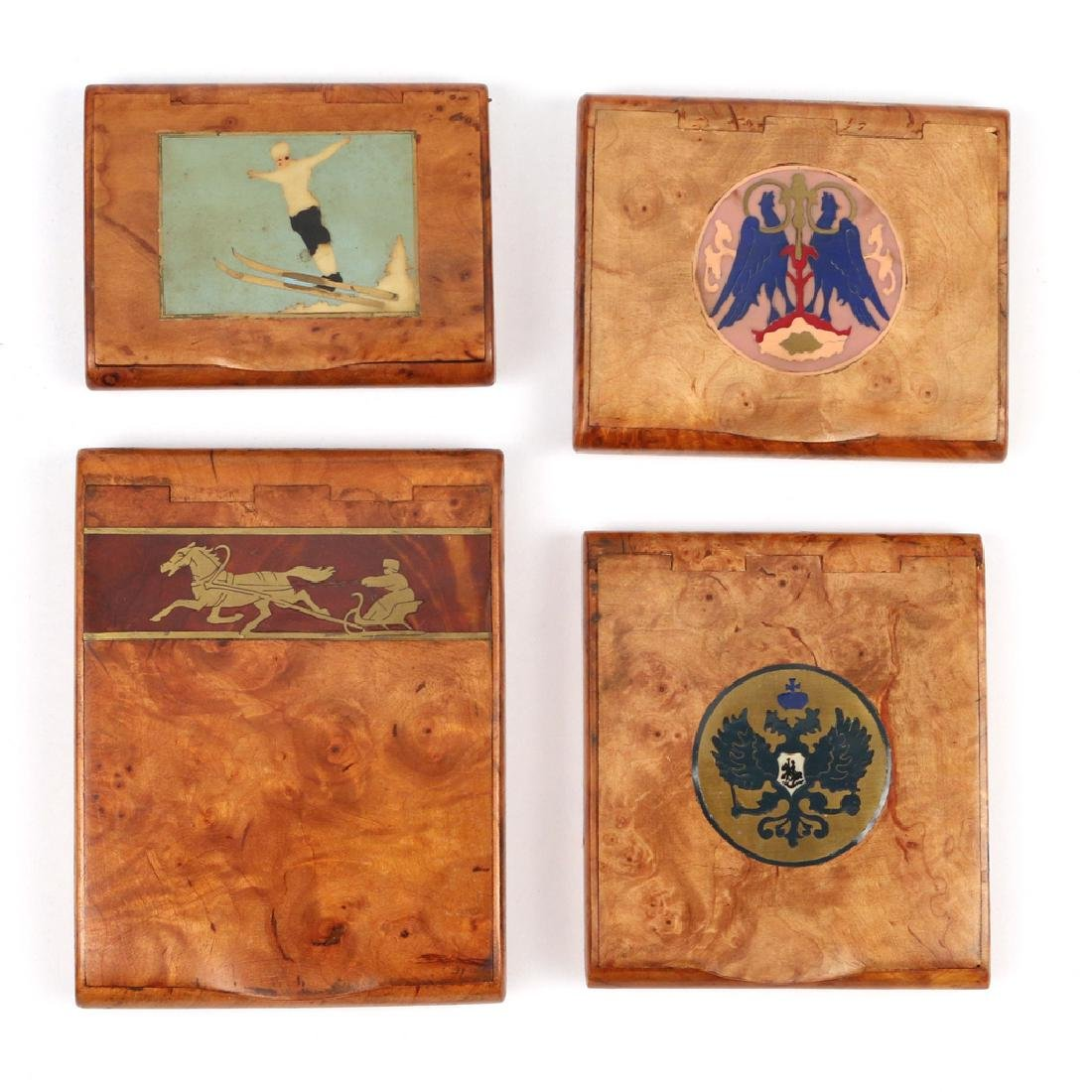 (4pc) RUSSIAN INLAID BURL WOOD CIGARETTE BOXES
