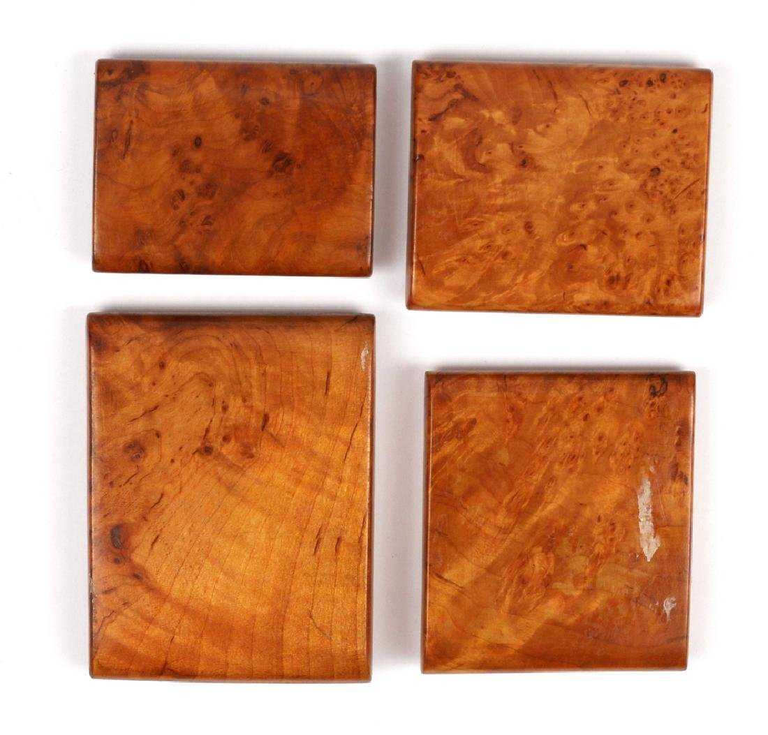 (4pc) RUSSIAN INLAID BURL WOOD CIGARETTE BOXES - 2