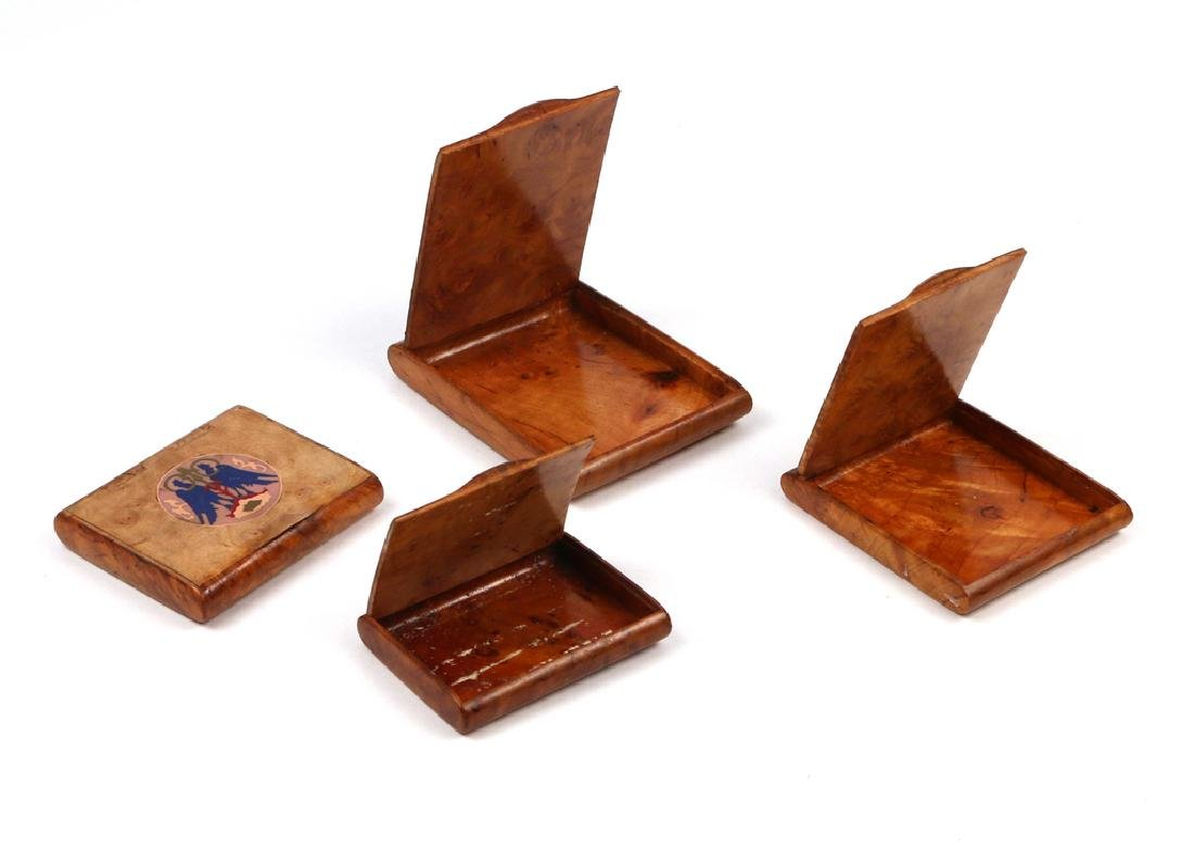 (4pc) RUSSIAN INLAID BURL WOOD CIGARETTE BOXES - 3