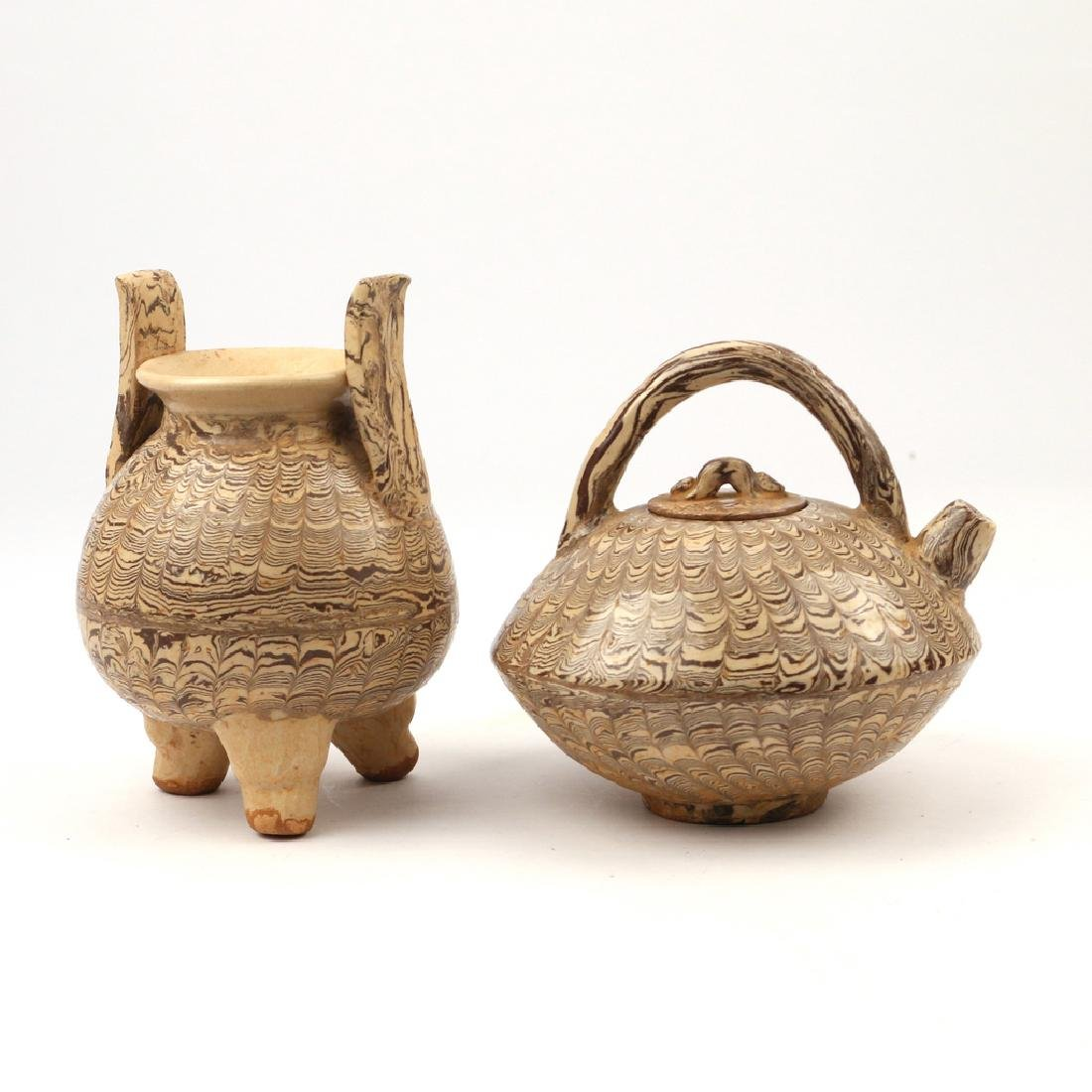 (2pc) SONG STYLE 'JIAOTAI' MARBLED CERAMICS - 2