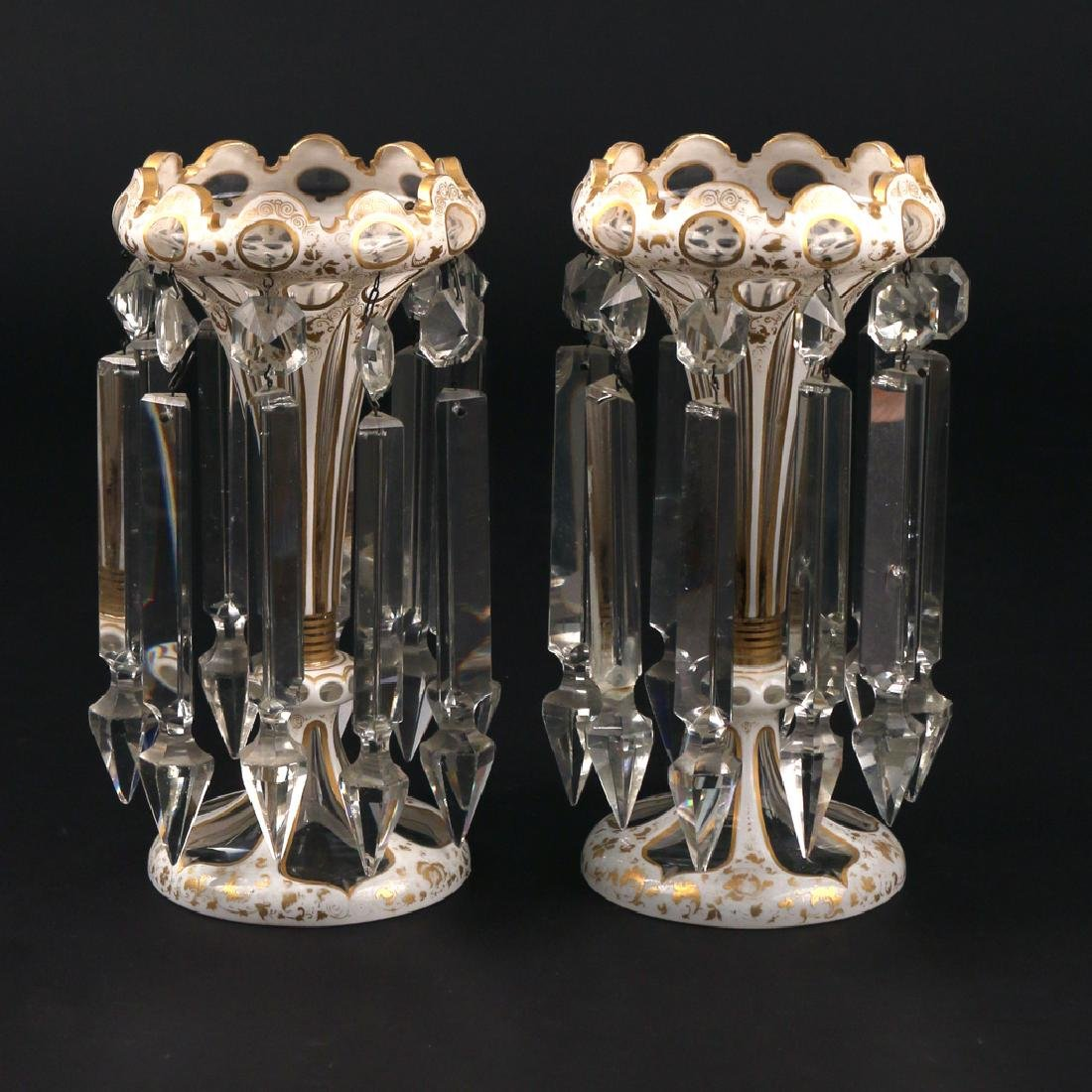 PAIR WHITE CUT-TO-CLEAR GLASS MANTLE LUSTRES