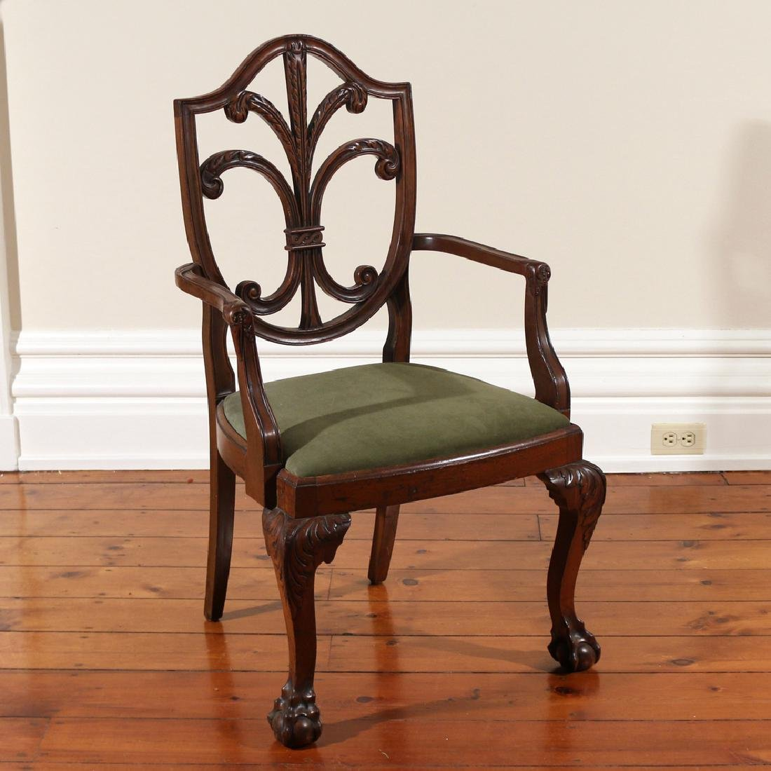 CHIPPENDALE-STYLE MAHOGANY ARMCHAIR