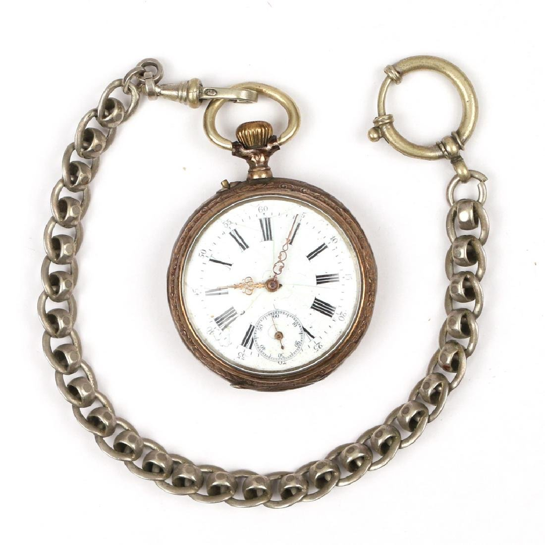'800' SILVER OPEN FACE POCKET WATCH