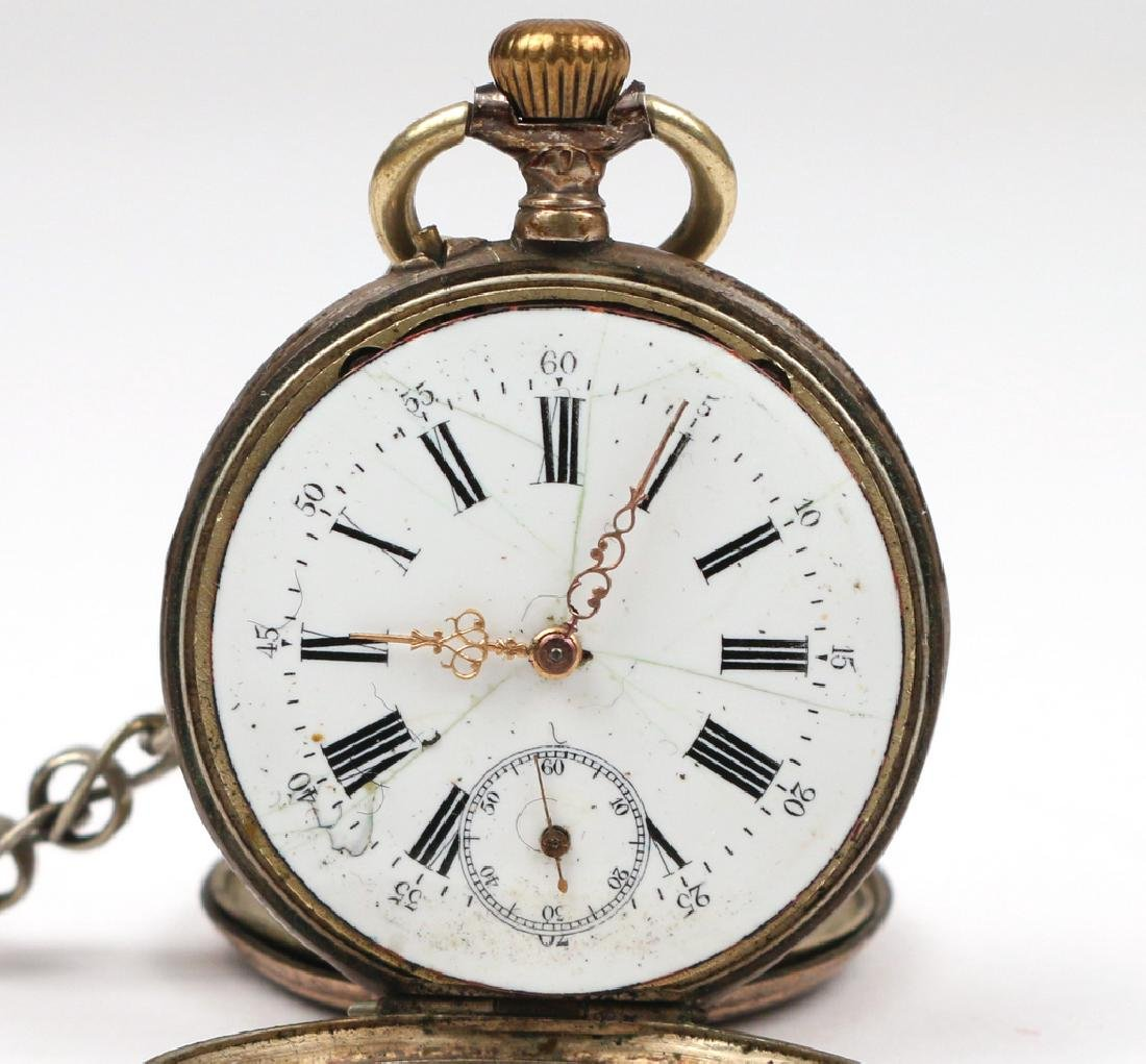 '800' SILVER OPEN FACE POCKET WATCH - 3