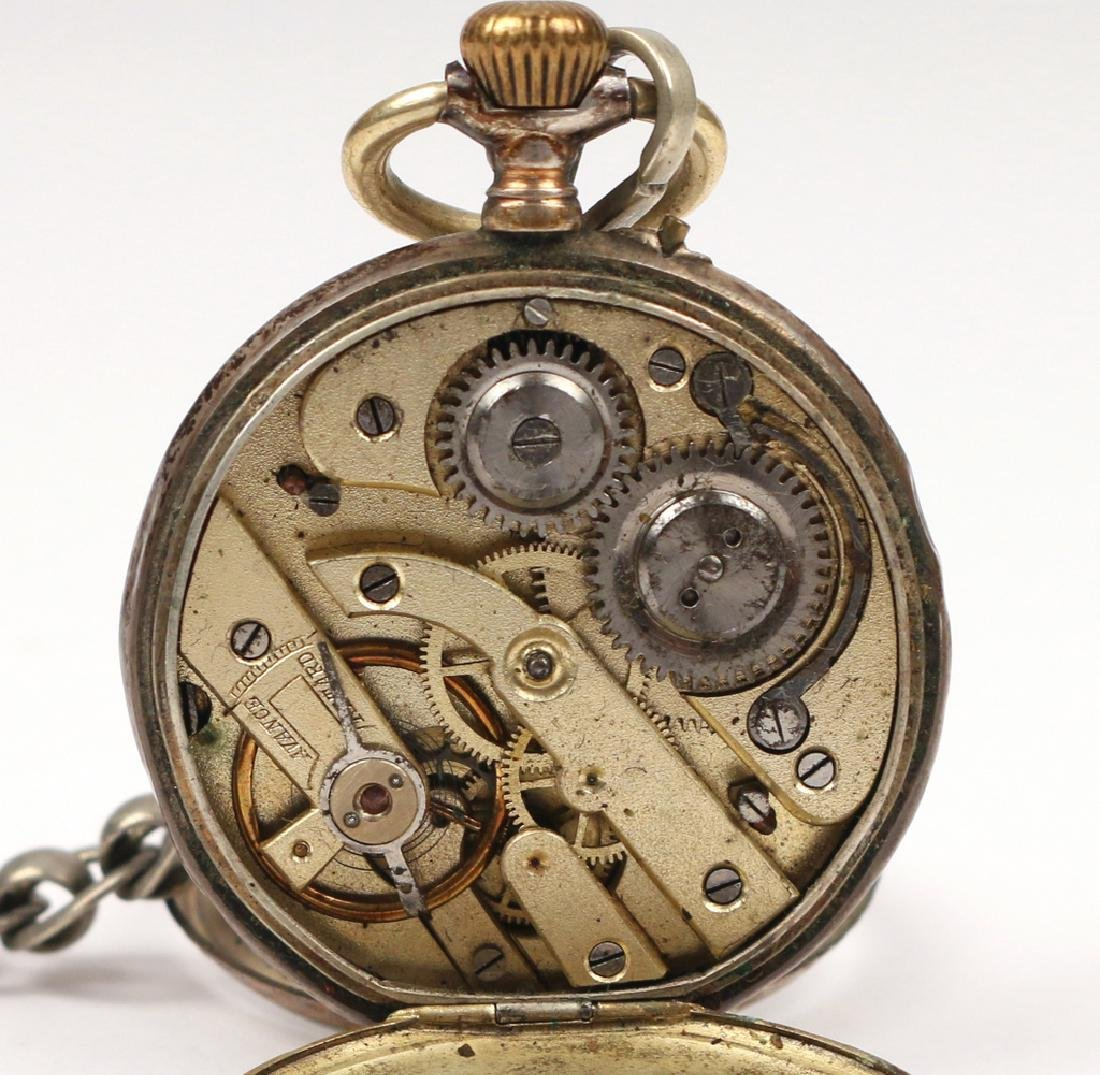 '800' SILVER OPEN FACE POCKET WATCH - 4