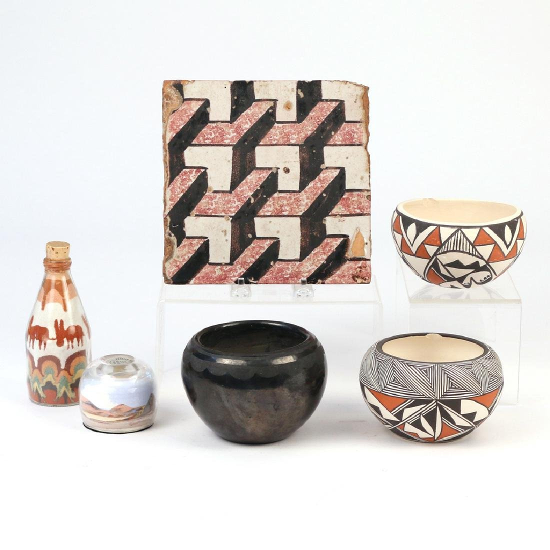(6pc) NATIVE AMERICAN & OTHER POTTERY & GLASS