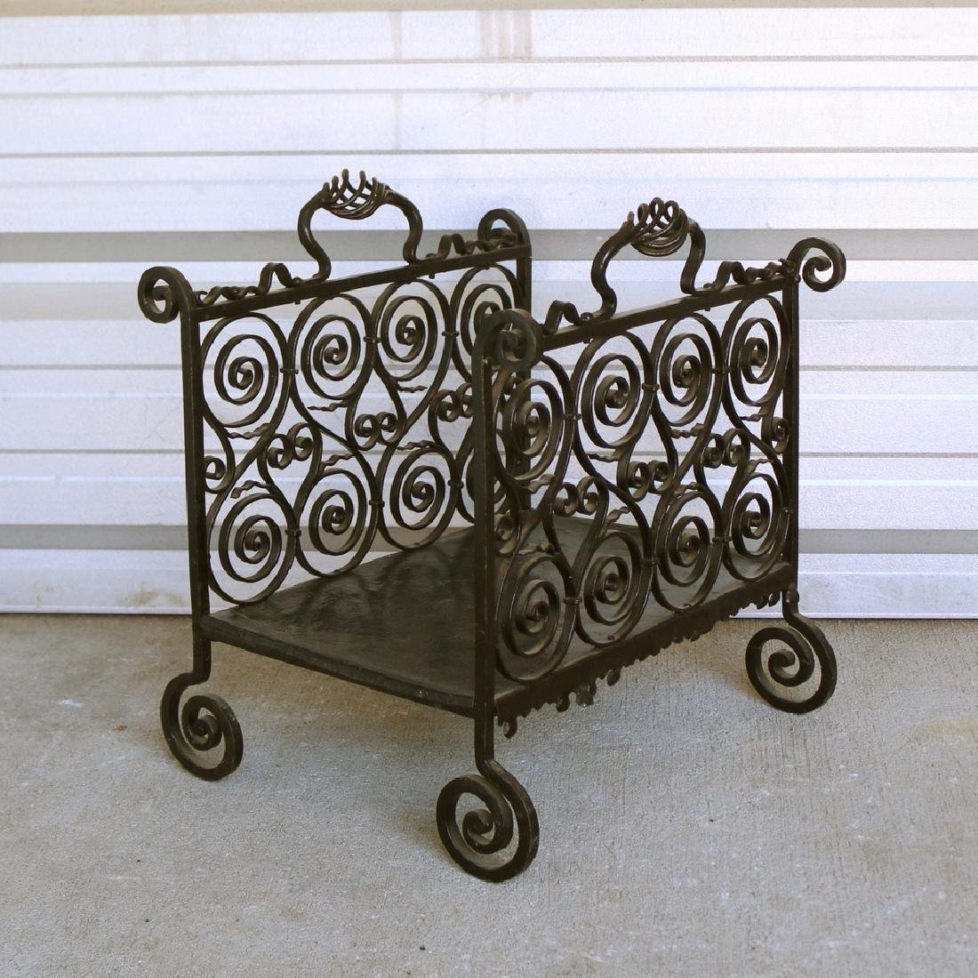 ORNATE WROUGHT-IRON LOG HOLDER