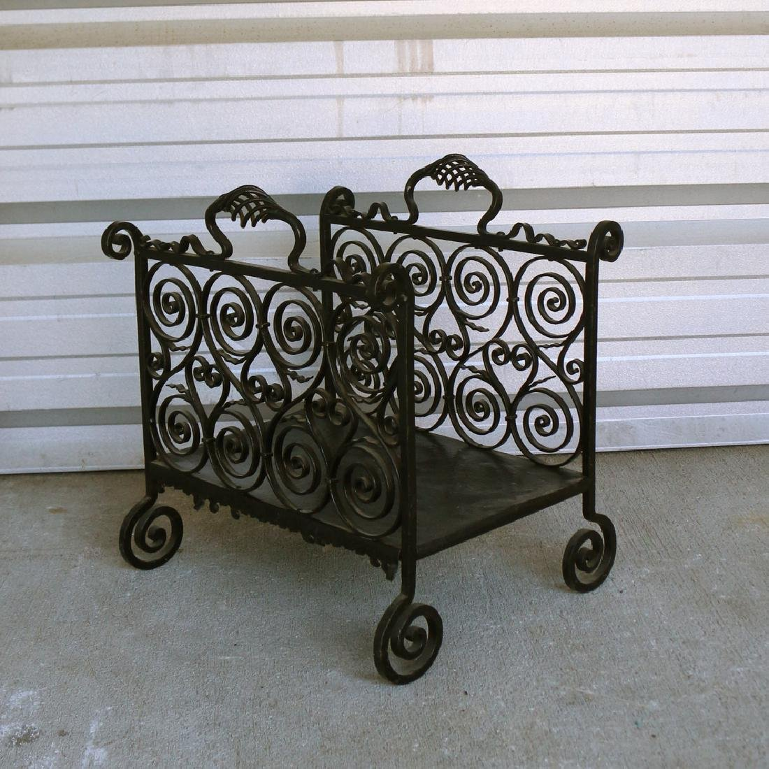 ORNATE WROUGHT-IRON LOG HOLDER - 2
