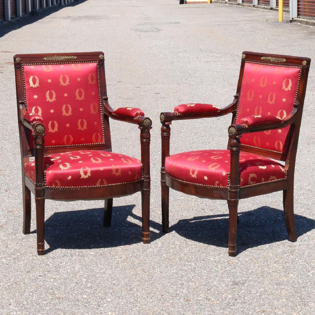 PAIR ENGLISH REGENCY-STYLE OPEN ARMCHAIRS