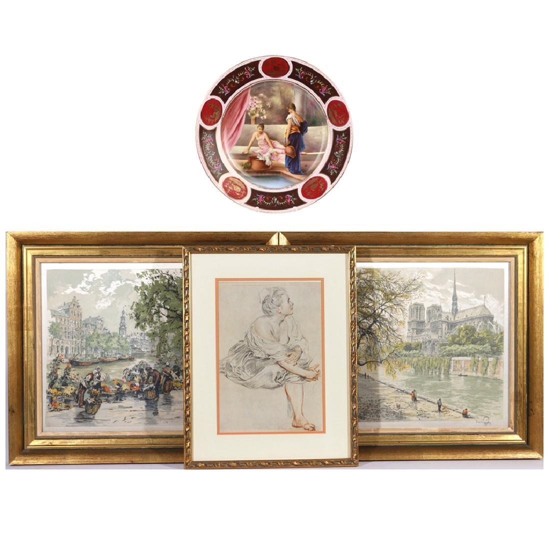 (4pc) THREE PRINTS & CABINET PLATE