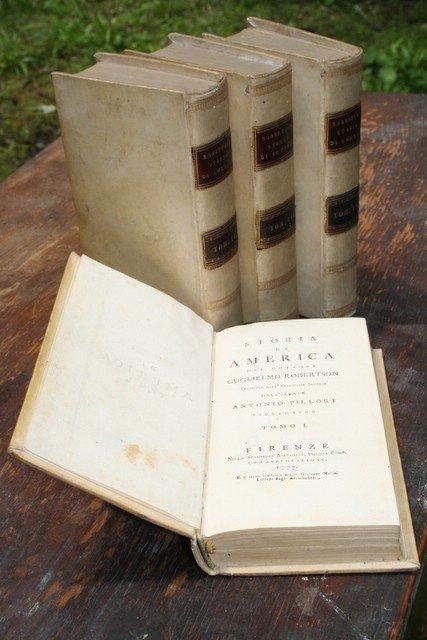 """1: SET 4 12MO VELLUM BOUND BOOKS, """"STORIA DI AMERICA"""""""