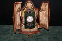 401: LATE 19TH/E. 20TH C. FRENCH NEPHRITE TRAVEL CLOCK