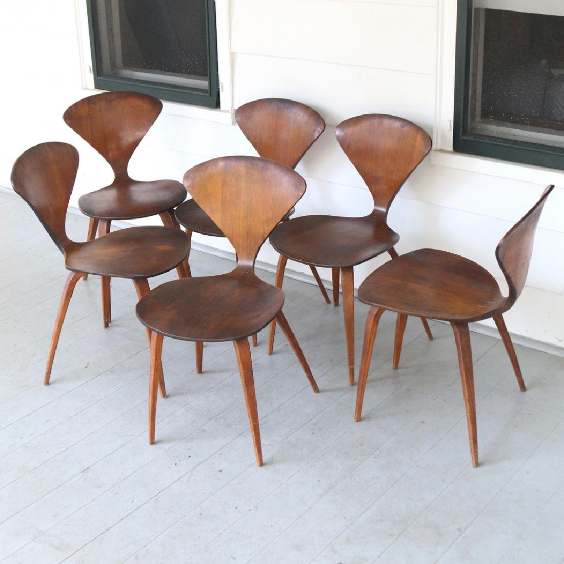 6pc norman cherner plycraft side chairs