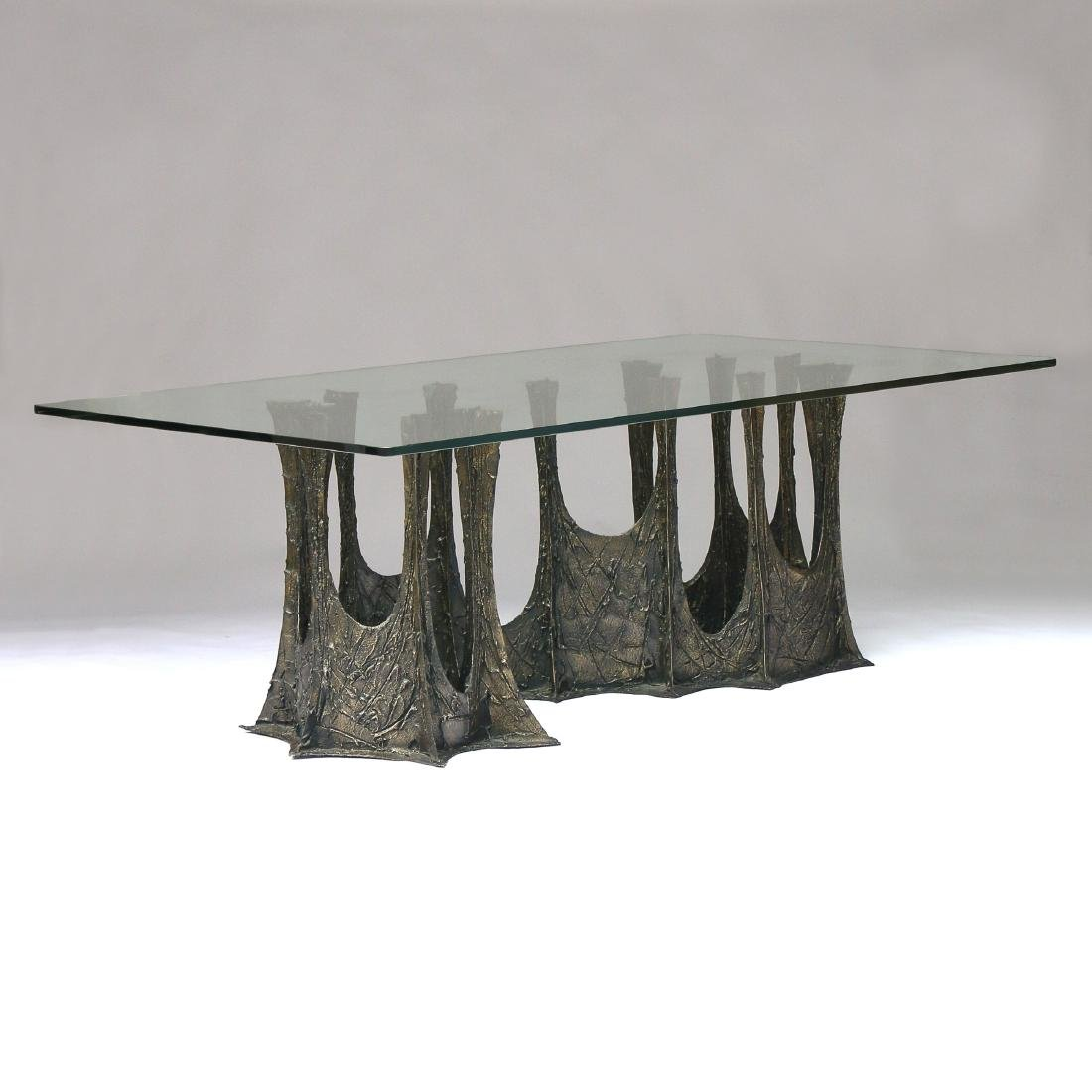 PAUL EVANS SCULPTURED METAL DINING TABLE