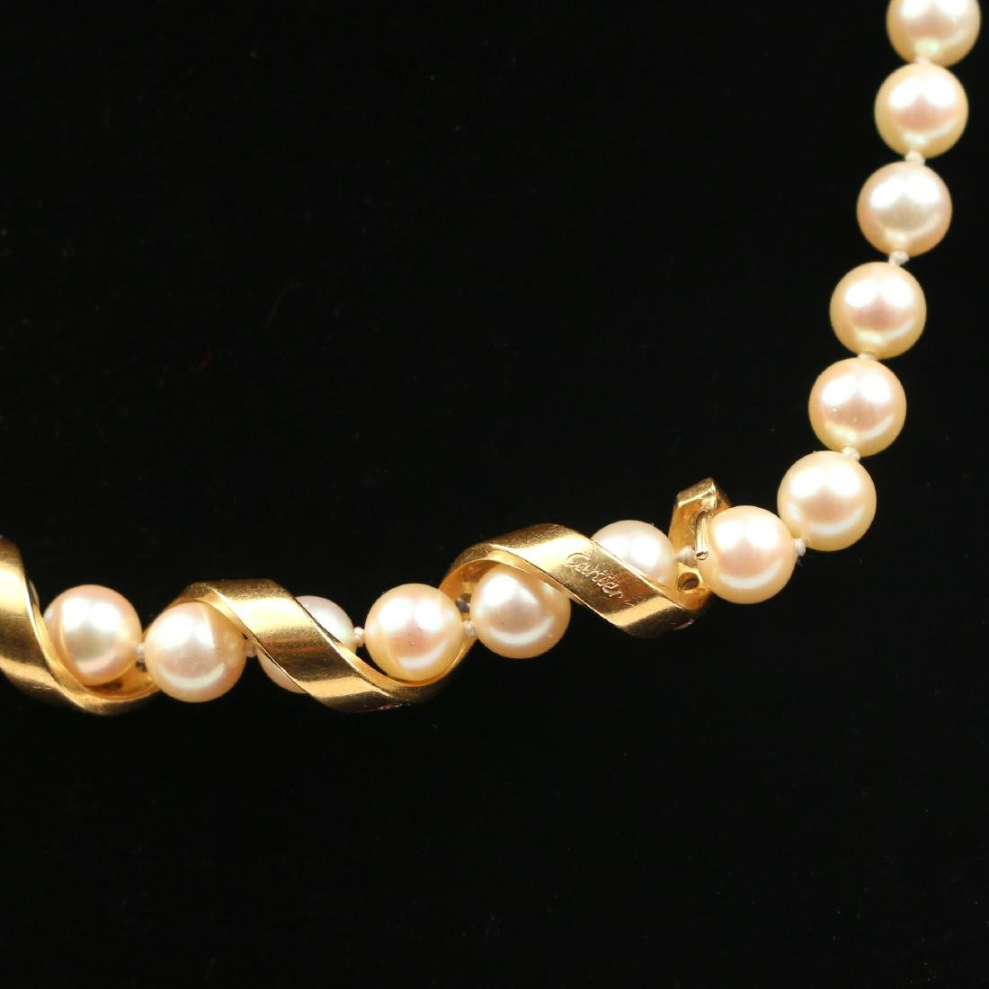 CARTIER TWIST DIAMOND, PEARL, & GOLD NECKLACE - 5
