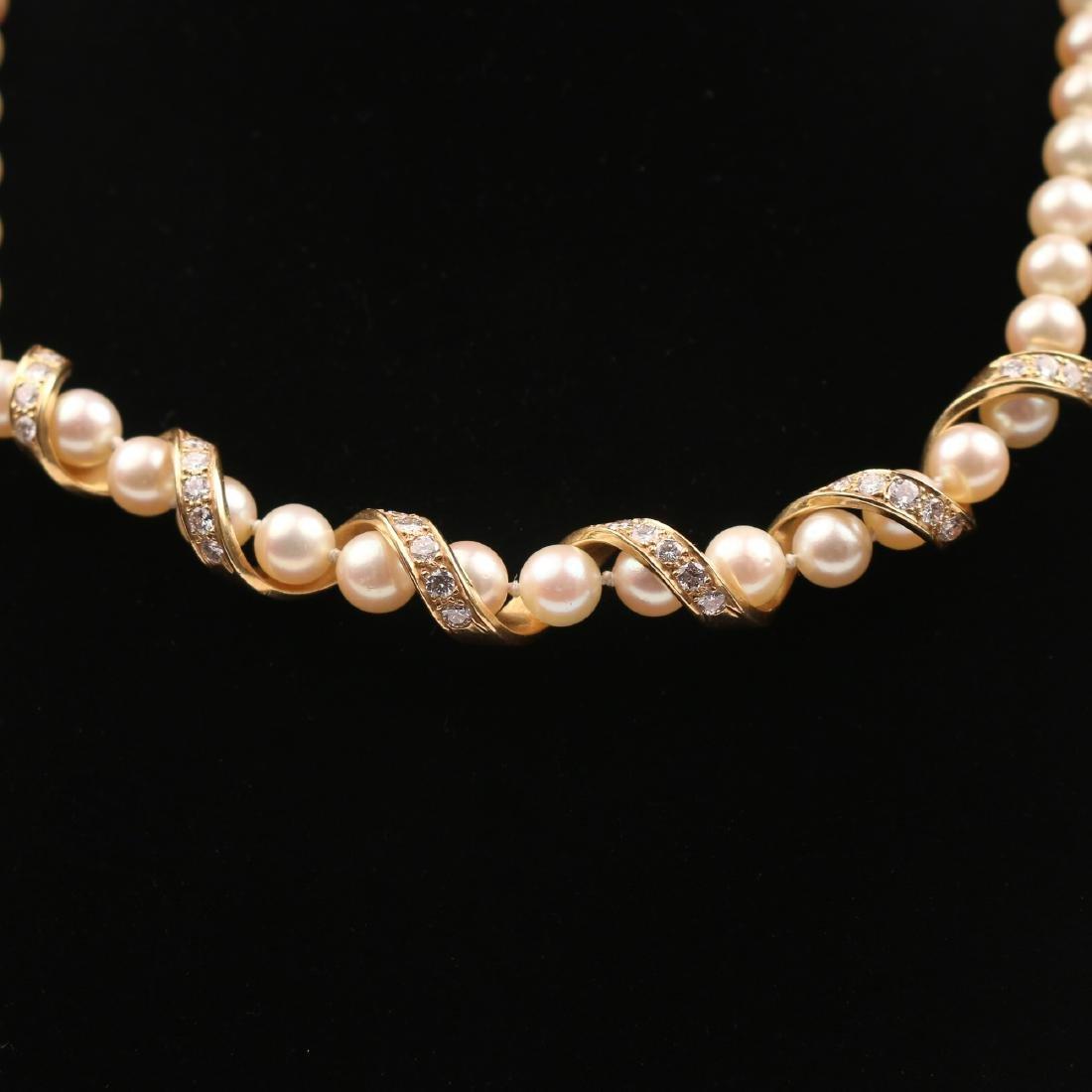 CARTIER TWIST DIAMOND, PEARL, & GOLD NECKLACE - 6