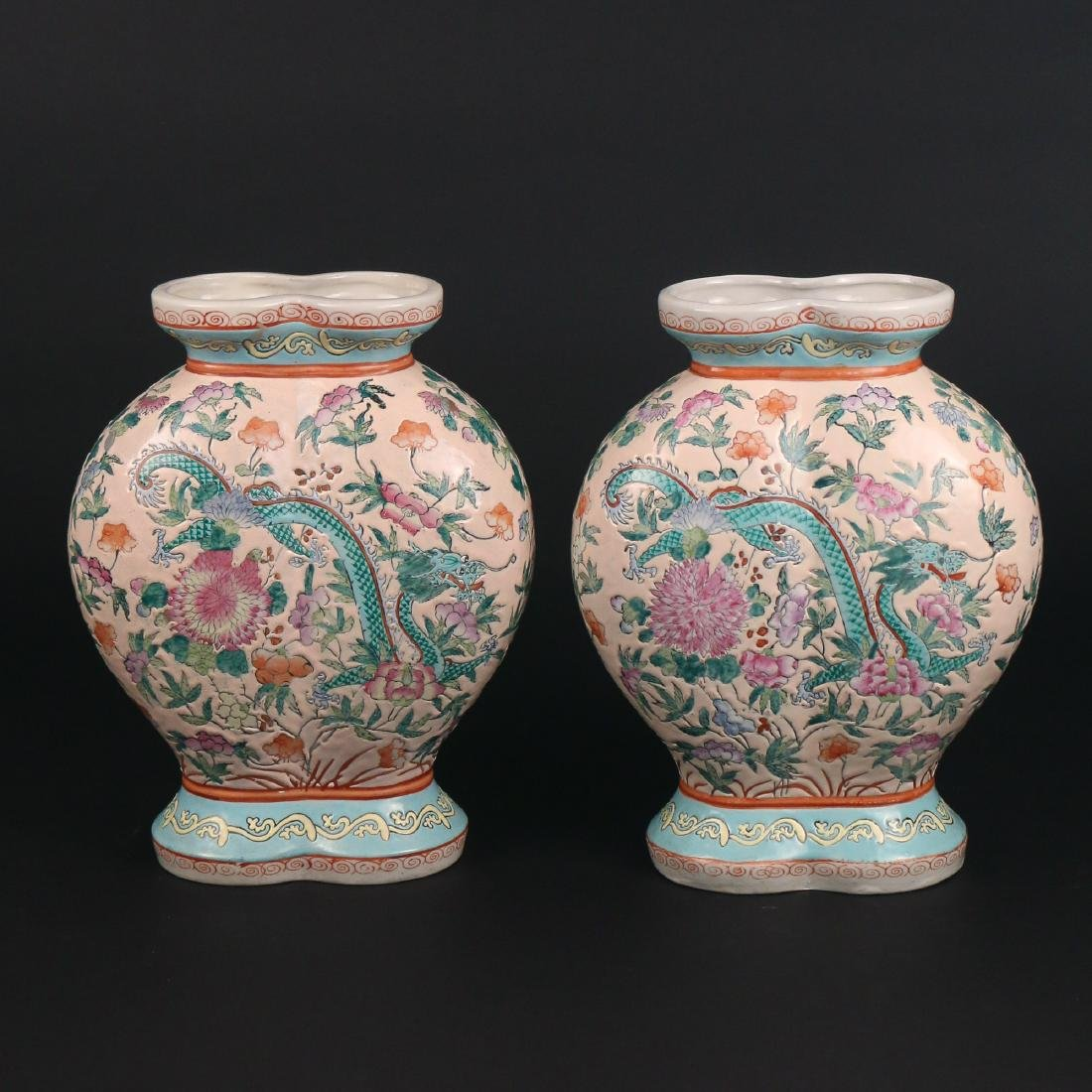 PAIR CHINESE PORCELAIN 'DOUBLE' VASES