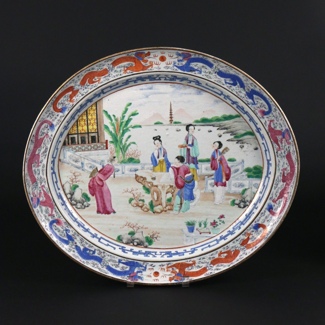 PAIR CHINESE EXPORT PORCELAIN PLATTERS & STANDS - 10