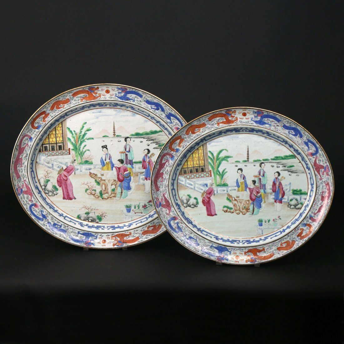 PAIR CHINESE EXPORT PORCELAIN PLATTERS & STANDS