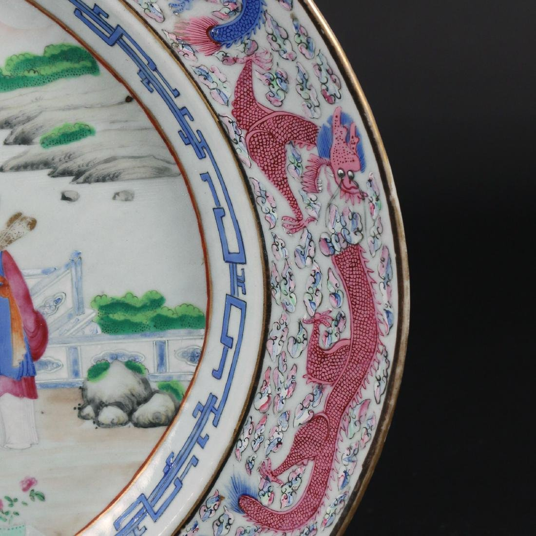PAIR CHINESE EXPORT PORCELAIN PLATTERS & STANDS - 6