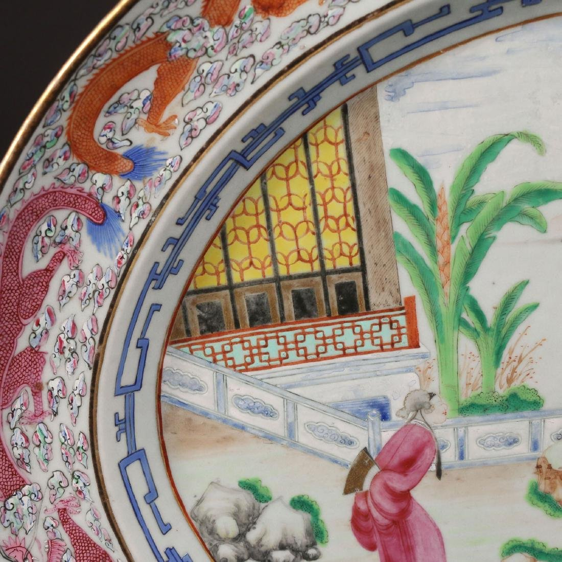 PAIR CHINESE EXPORT PORCELAIN PLATTERS & STANDS - 7