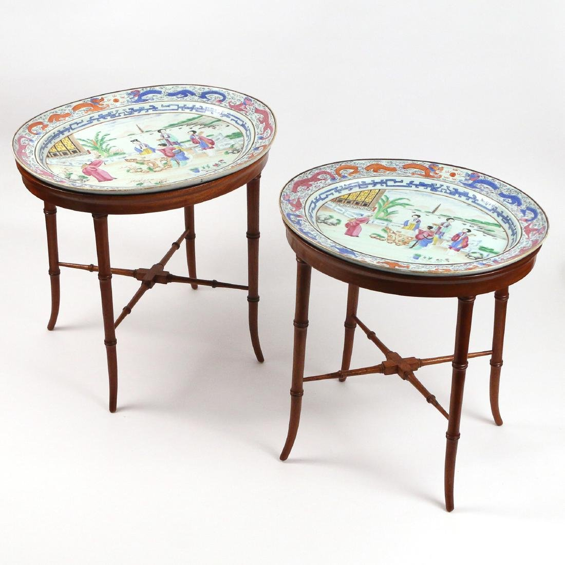 PAIR CHINESE EXPORT PORCELAIN PLATTERS & STANDS - 9