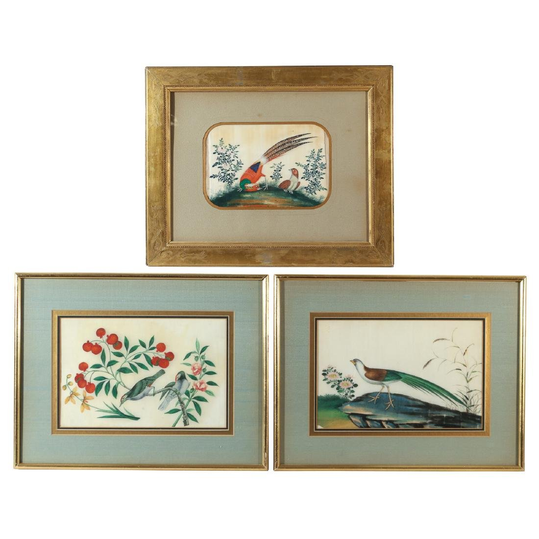(3pc) CHINESE EXPORT GOUACHE PAINTINGS