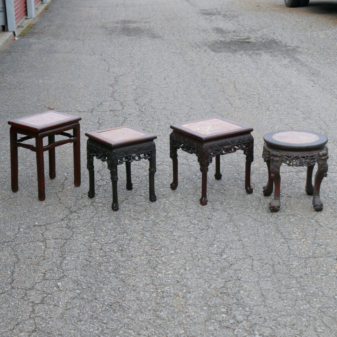 (4pc) CHINESE EXPORT CARVED TABOURETS