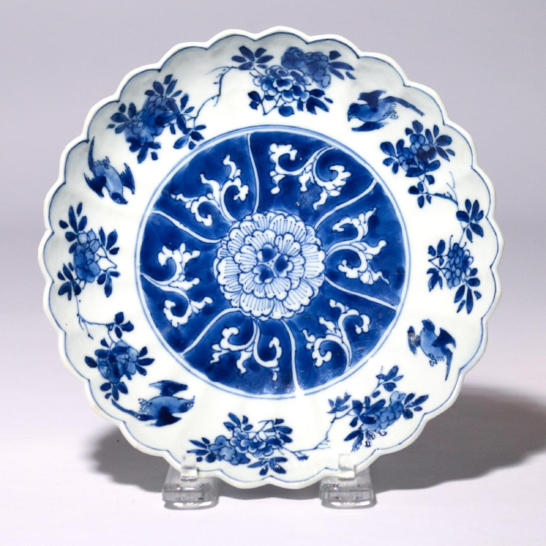 CHINESE BLUE & WHITE LOBED PORCELAIN DISH