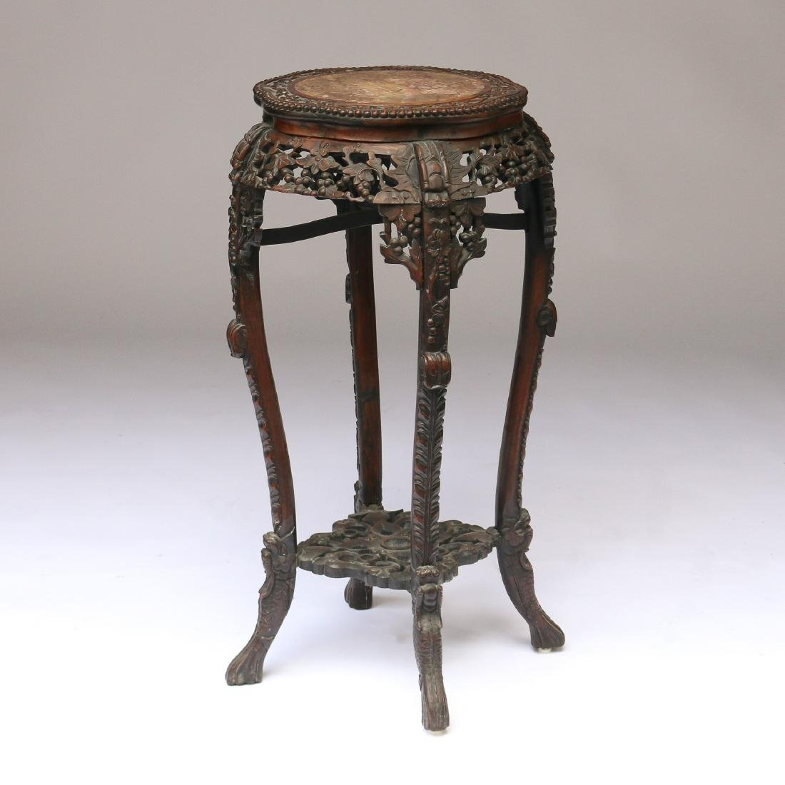 CHINESE EXPORT CARVED HARDWOOD STAND