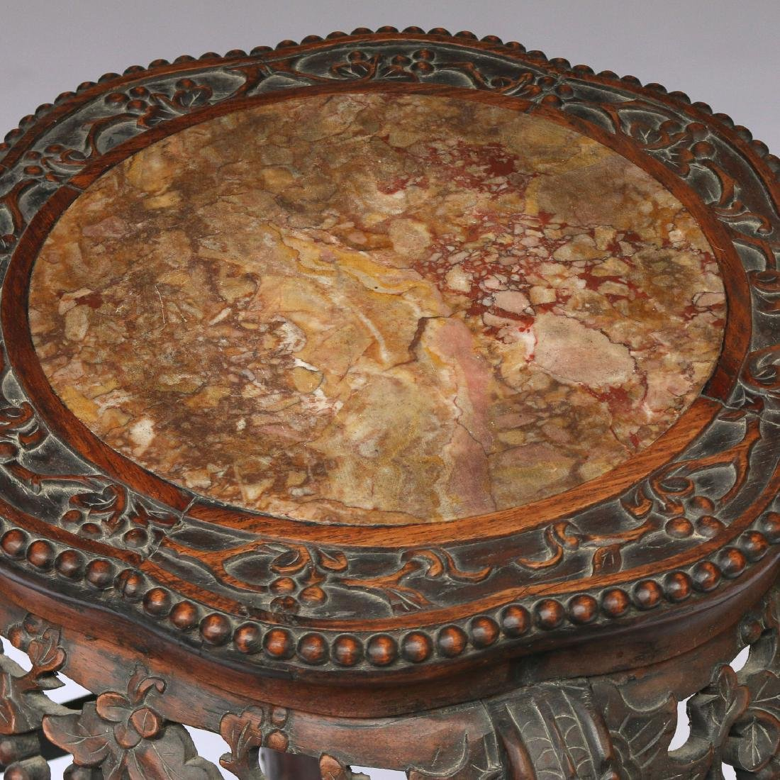 CHINESE EXPORT CARVED HARDWOOD STAND - 2