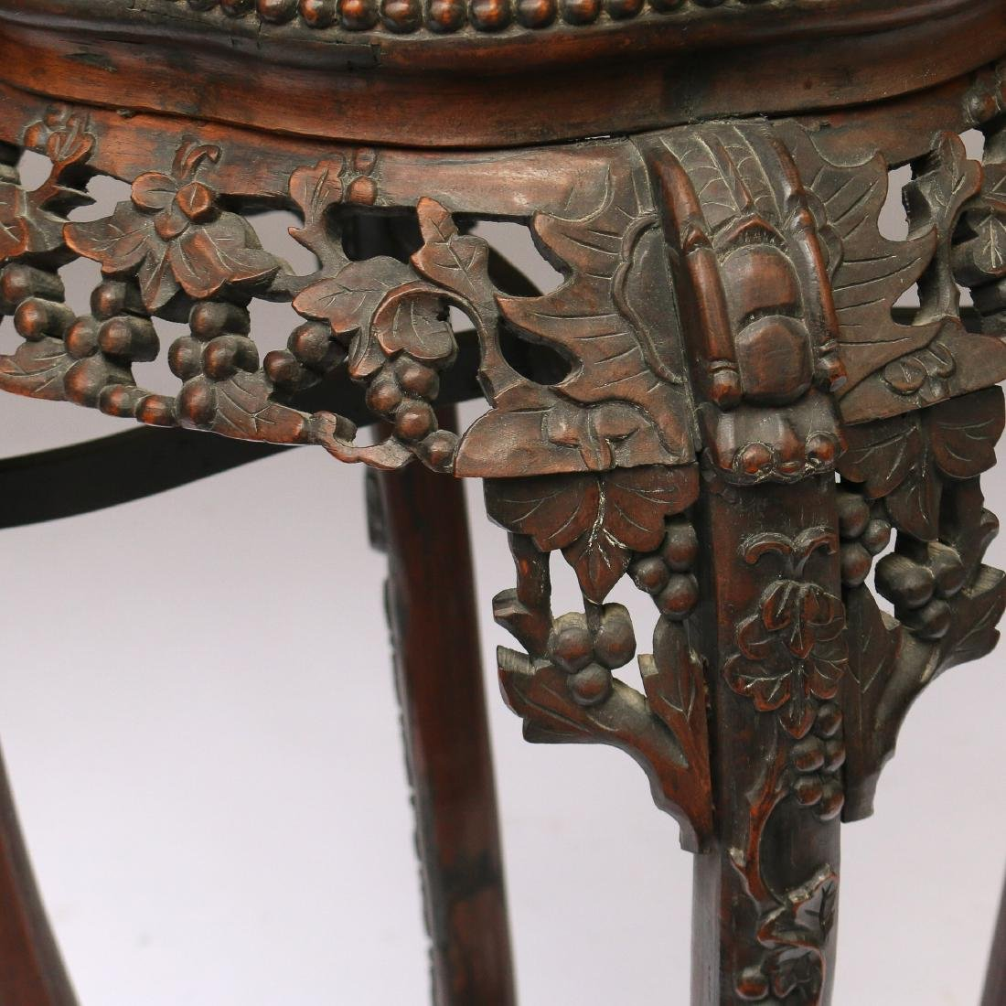 CHINESE EXPORT CARVED HARDWOOD STAND - 3