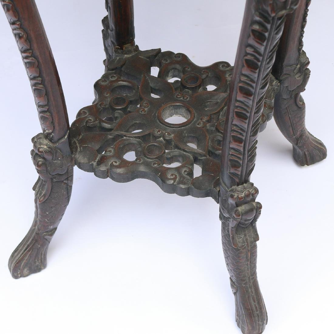CHINESE EXPORT CARVED HARDWOOD STAND - 4