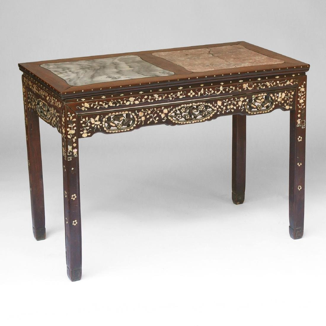 CHINESE MOTHER-OF-PEARL INLAID WRITING TABLE