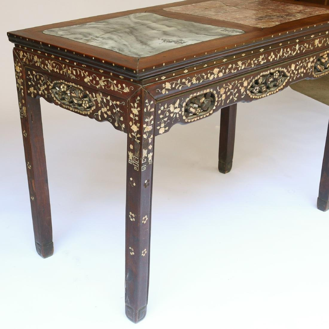 CHINESE MOTHER-OF-PEARL INLAID WRITING TABLE - 4