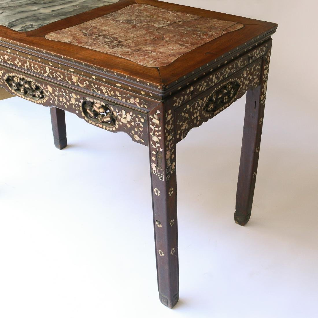 CHINESE MOTHER-OF-PEARL INLAID WRITING TABLE - 5