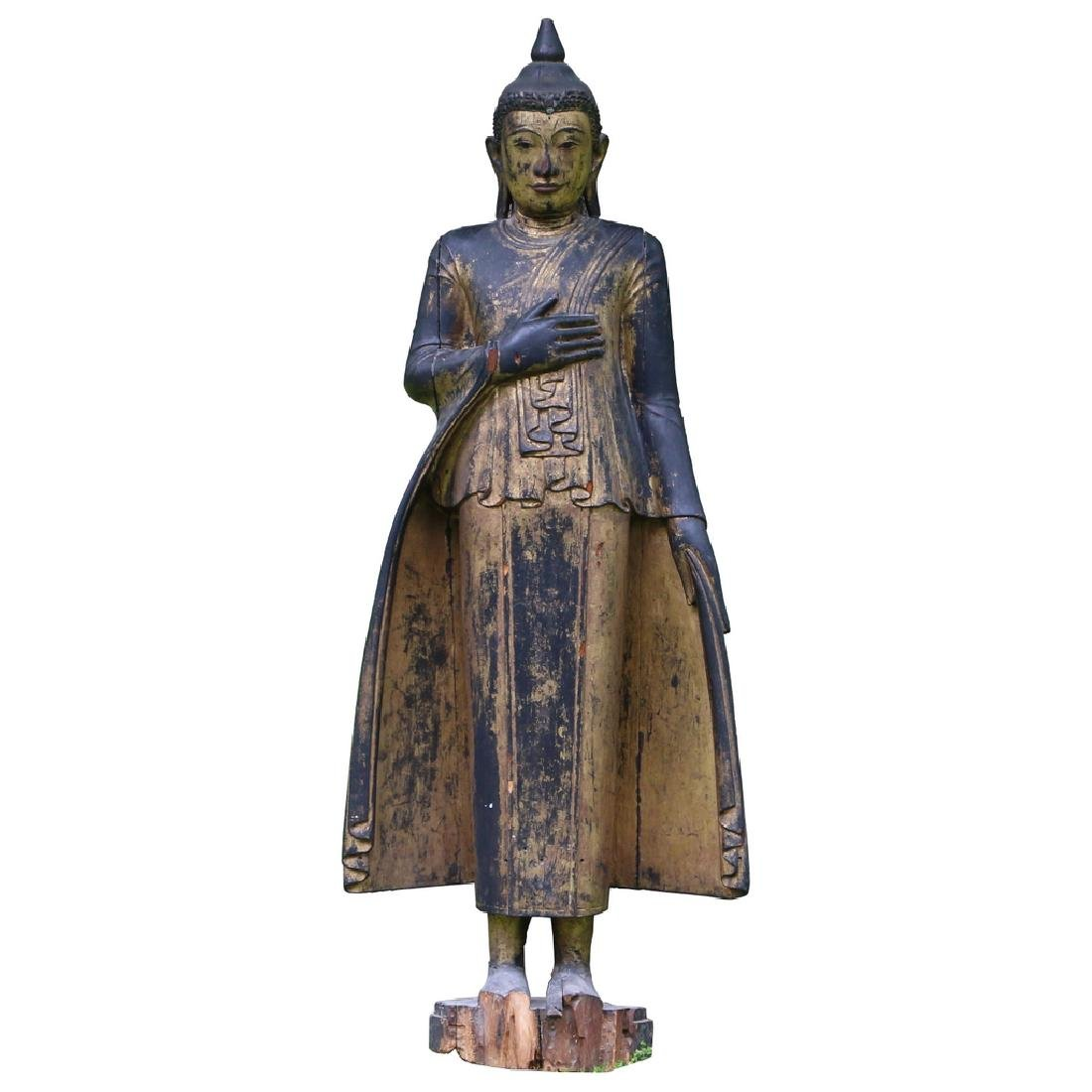 MONUMENTAL GILT-CARVED BUDDHA