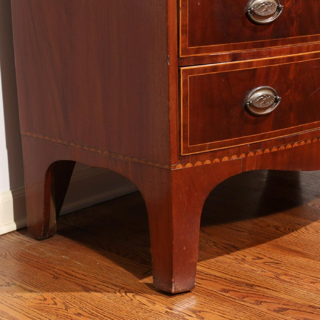 FEDERAL INLAID MAHOGANY BOW-FRONT CHEST - 9