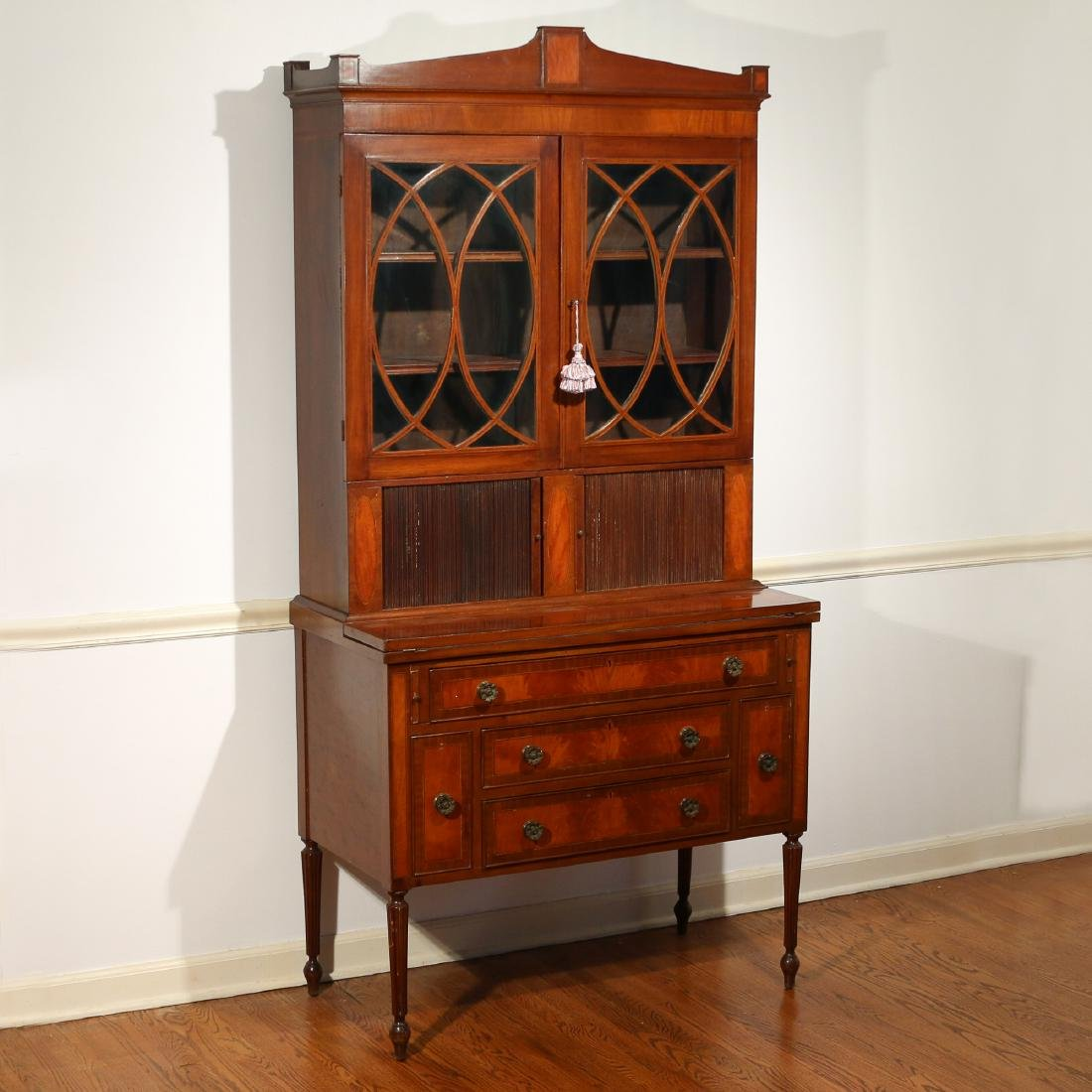 FEDERAL INLAID-MAHOGANY SECRETARY BOOKCASE