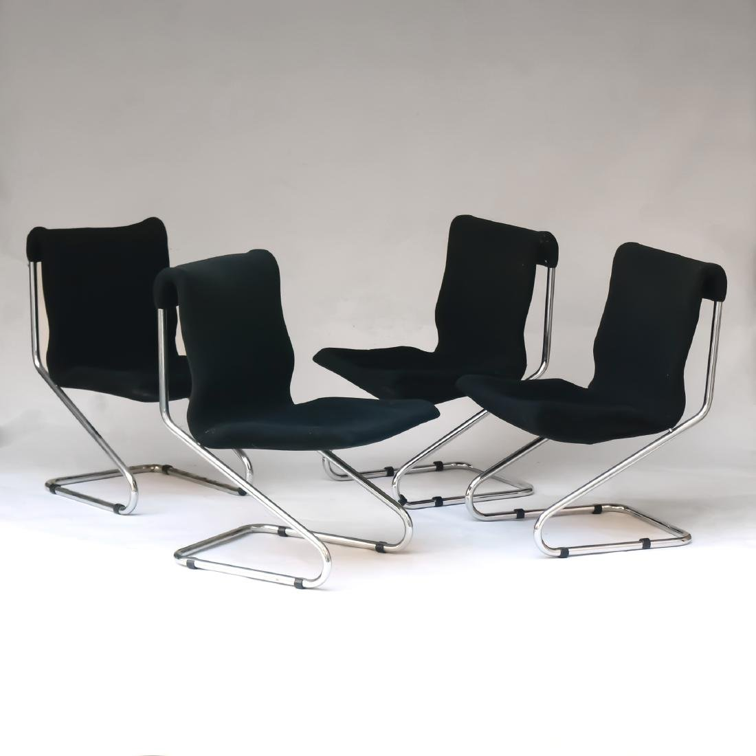 (4pc) MID-CENTURY CHROME CANTILEVER CHAIRS