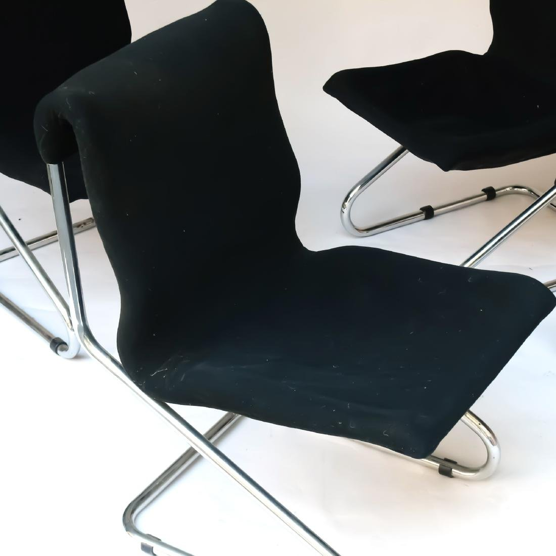 (4pc) MID-CENTURY CHROME CANTILEVER CHAIRS - 2