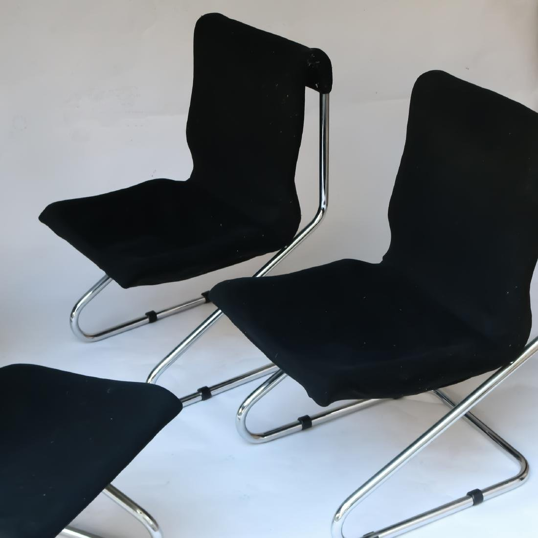 (4pc) MID-CENTURY CHROME CANTILEVER CHAIRS - 3