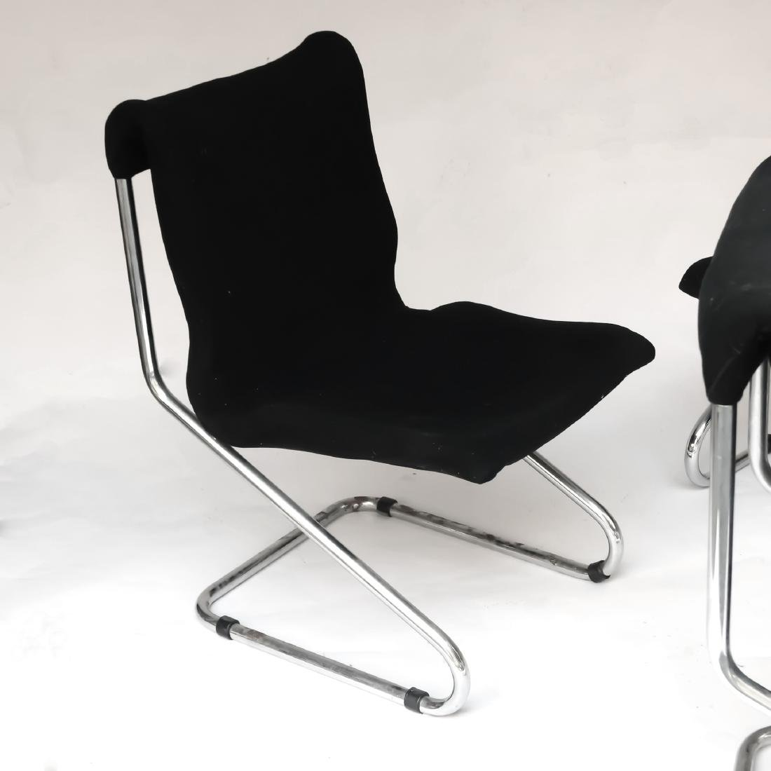 (4pc) MID-CENTURY CHROME CANTILEVER CHAIRS - 4