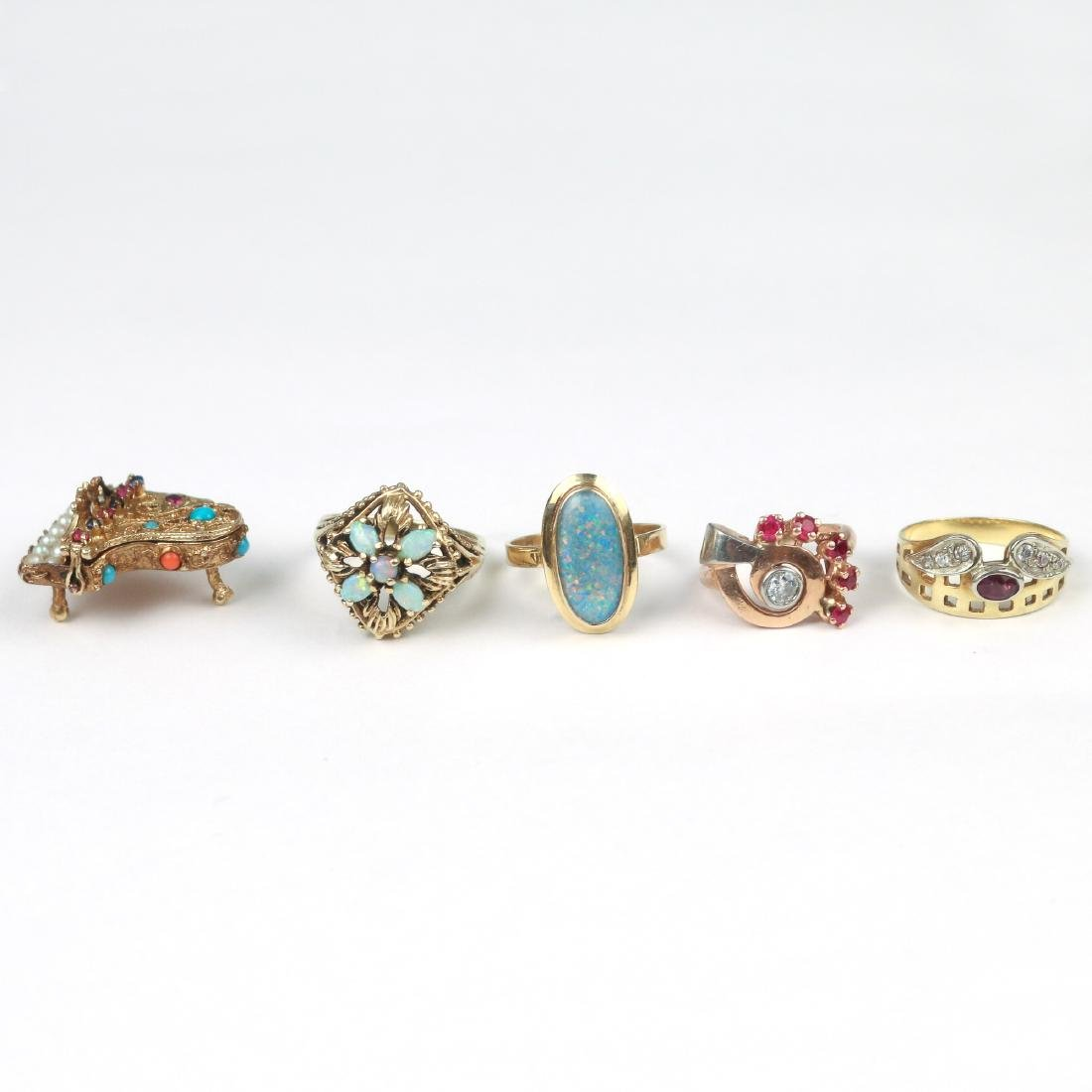 (5pc) RINGS & A PIANO CHARM