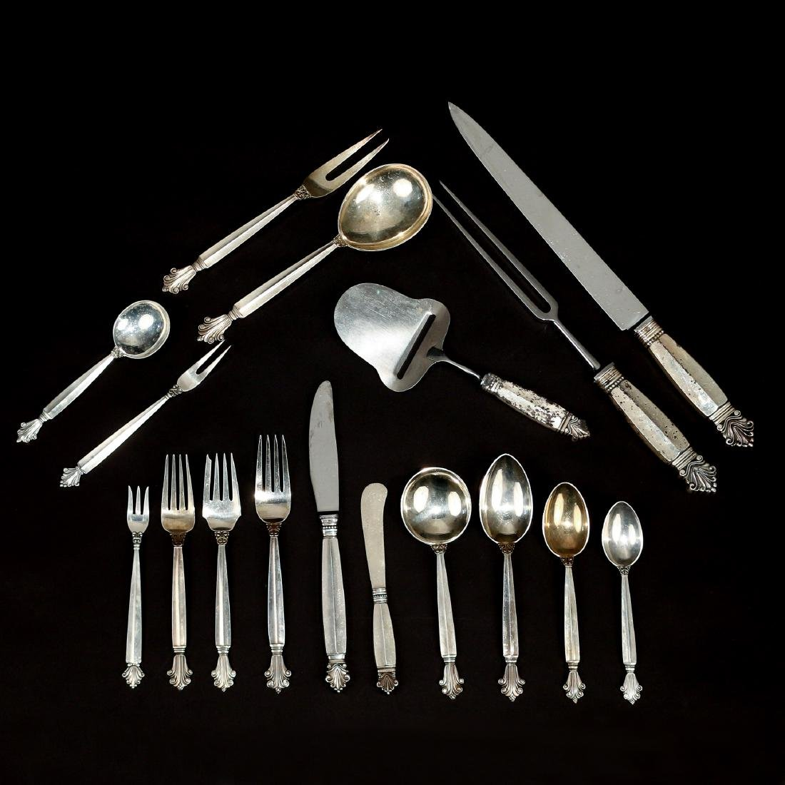 (123pc) GEORG JENSEN STERLING FLATWARE SERVICE