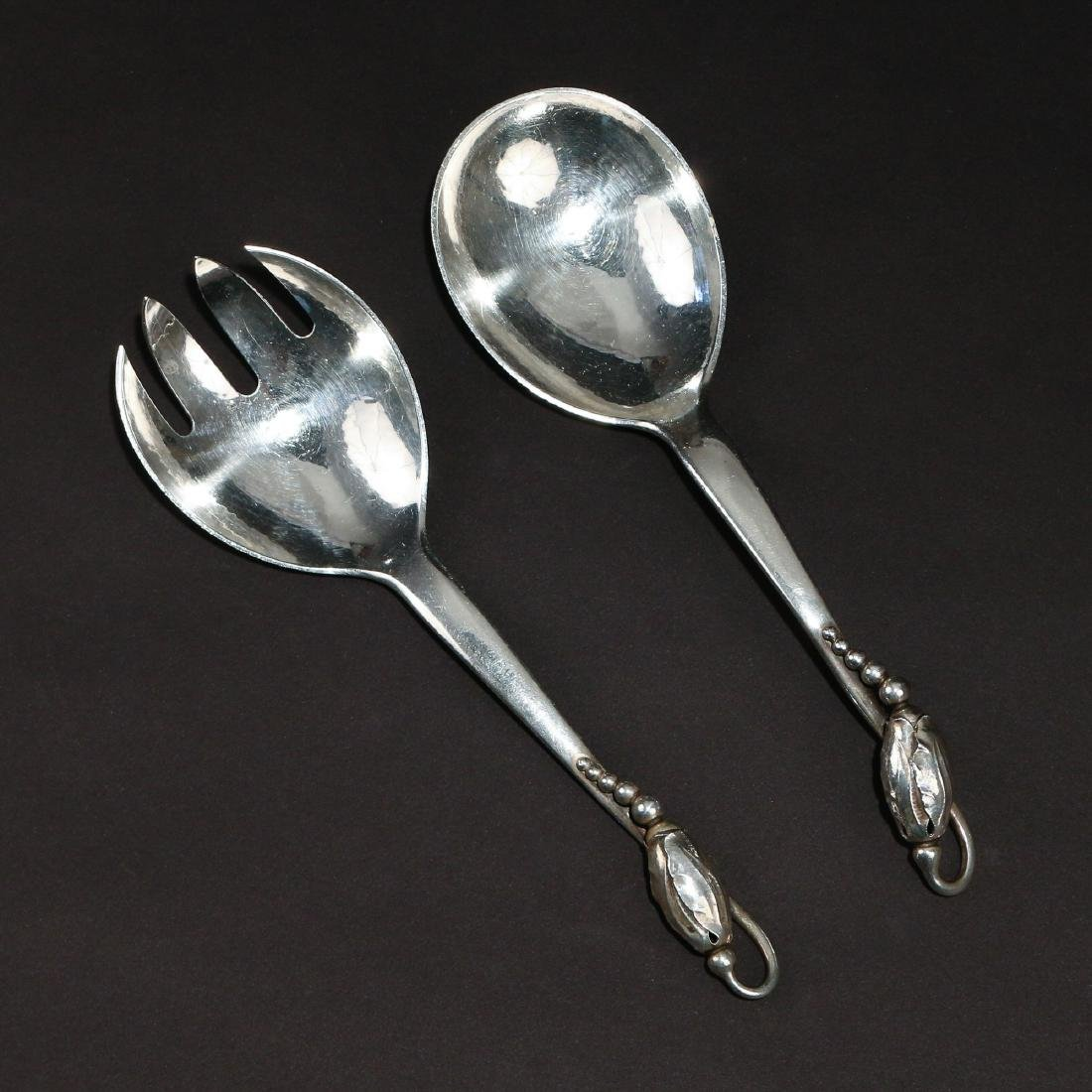 PAIR GEORG JENSEN STERLING SALAD SERVERS