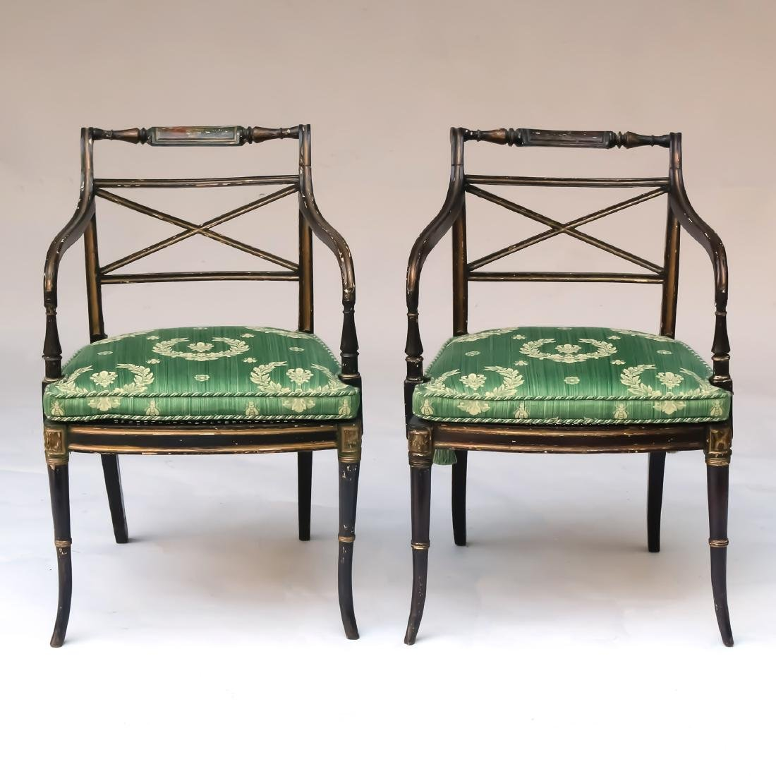PAIR REGENCY PARCEL-GILT EBONIZED ARMCHAIRS - 2